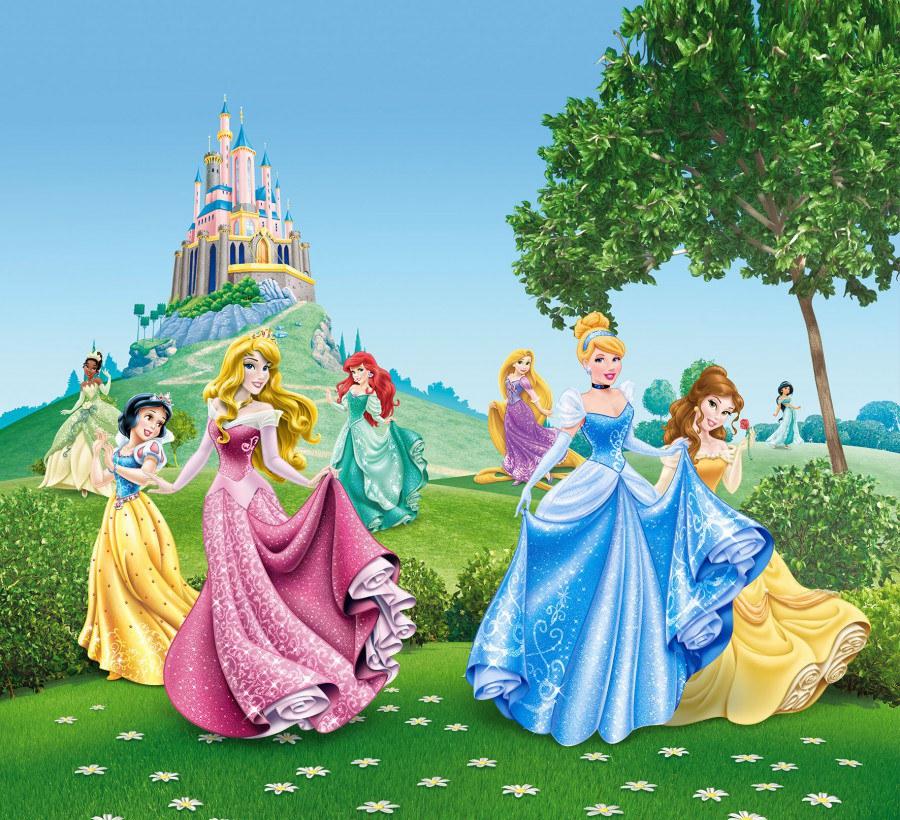 Fotozávěs Princezny u zámku FCSXL-4319, 180 x 160 cm - Závěsy do dětského pokoje