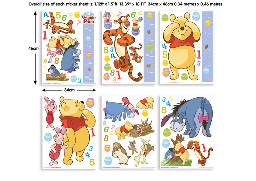 Samolepicí dekorace Walltastic Medvídek Pú 41486, 79 ks | Dekorace do dětských pokojů Dekorace Medvídek Pú