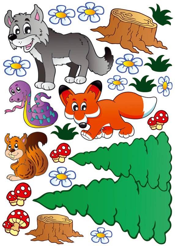 Samolepící dekorace na zeď Zvířátka z lesa ST1-004, rozměry 50 x 70 cm | Dekorace do dětských pokojů Nálepky pro Děti