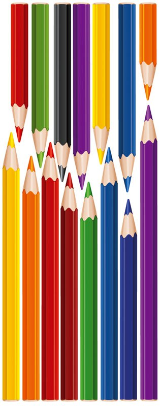 Samolepící dekorace na zeď Pencils ST2-003, rozměry 65 x 165 cm | Dekorace do dětských pokojů Nálepky pro Děti