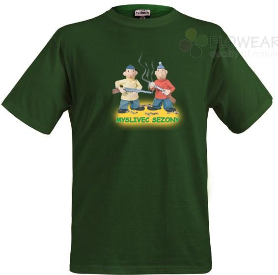 Tričko Pat a Mat zelené Myslivci - Pánské trička