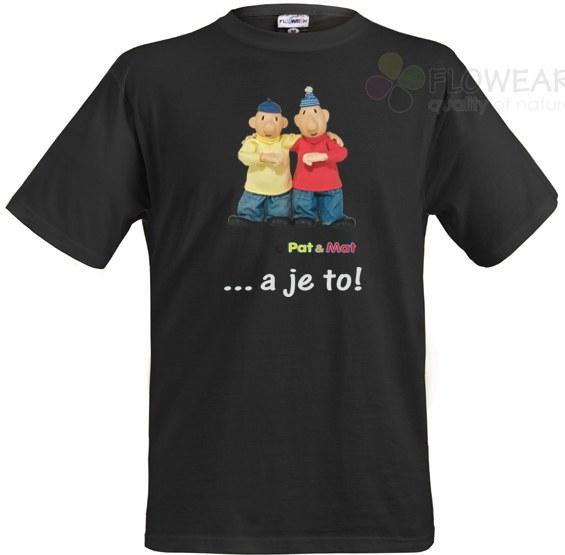 Tričko Pat a Mat černé, velikost M - Pánské trička