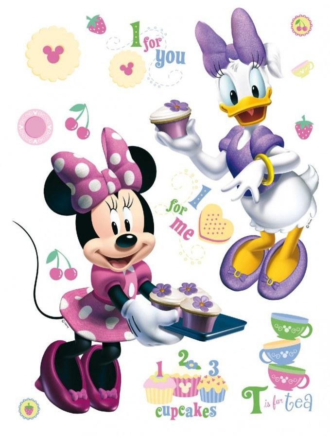 Maxi nálepka Minnie a kamarádka AG Design DK-0856, rozměry 85 x 65 cm - Dekorace Mickey Mouse