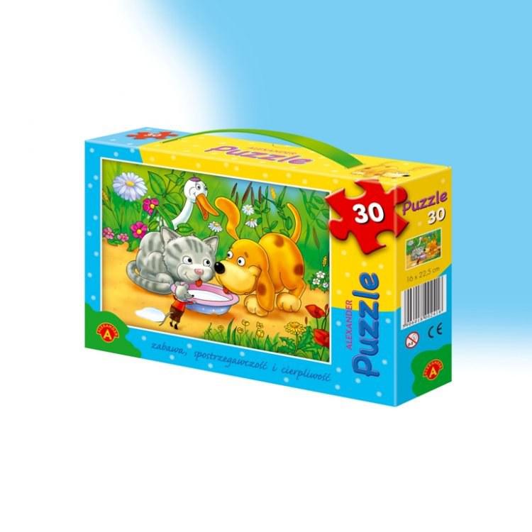 Puzzle 30 dílů pes a kočka kreslená dekorace hračky hry