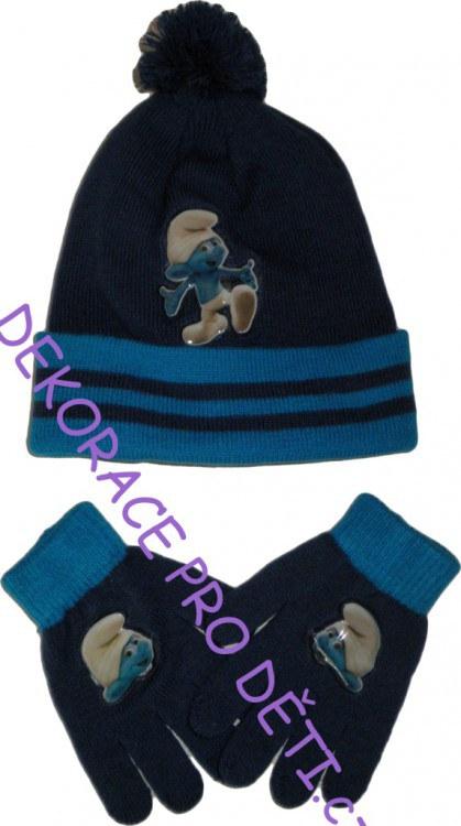 Čepice a rukavice Šmoulové Modré - Akce