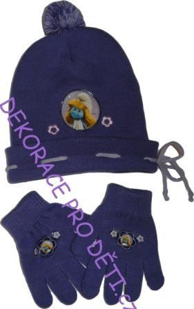 Čepice a rukavice Šmoulové Fialkové